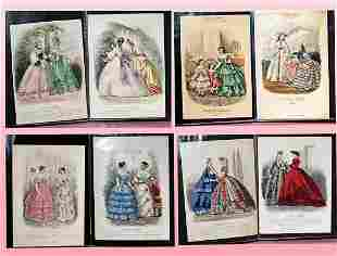 42-PAGE FOLIO OF EARLY HAND-COLORED FASHION PRINTS