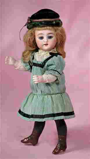 SIMON & HALBIG ALL-BISQUE DOLL WITH LONG BLACK