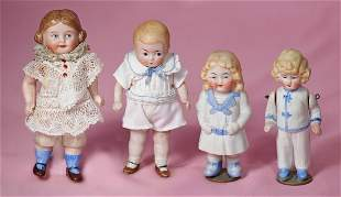 FOUR MINIATURE GERMAN ALL-BISQUE DOLLS.