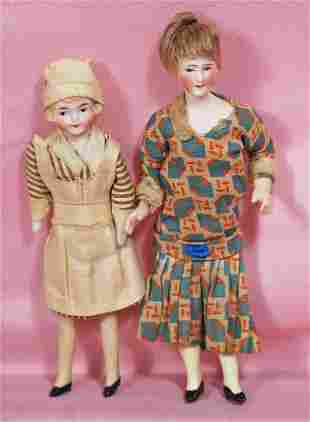 TWO GERMAN BISQUE DOLL HOUSE DOLLS.