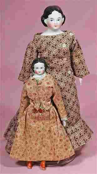 PETITE GERMAN CHINA LADY WITH ORIGINAL DRESS.