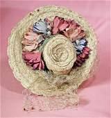 """DOLL BONNET. Woven cream color straw bonnet has 2 ½"""""""