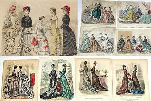 "LARGE FOLIO OF HAND-COLORED FASHION ENGRAVINGS. 12"" x"
