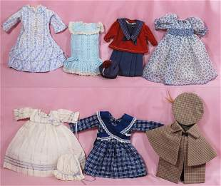 WARDROBE FOR ANTIQUE DOLL. Includes four cotton
