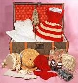 """TRUNK AND WARDROBE FOR BEBE JUMEAU. 19"""" x 11"""" x11""""."""