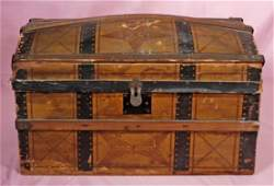 """ANTIQUE DOLL TRUNK. 18"""" x 10"""" x 10"""". Wooden dome-top"""