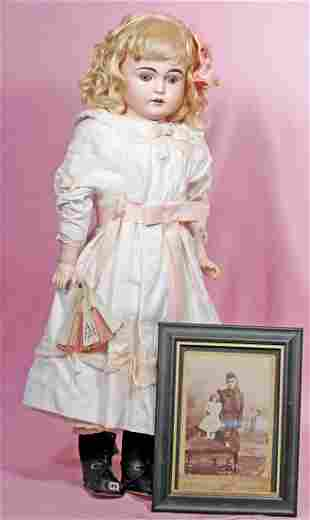 KESTNER BISQUE DOLL WITH PHOTO OF ORIGINAL OWNER