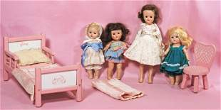 FOUR VOGUE HARD PLASTIC DOLLS & GINNY DOLL FURNITURE