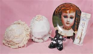 TWO DOLL BONNETS & RELATED ITEMS