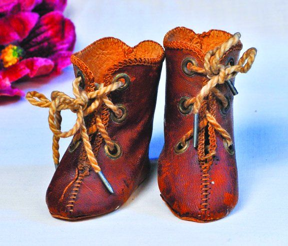 """PAIR ANTIQUE DOLL SHOES AND SOCKS. 3 ½""""L. Black a"""