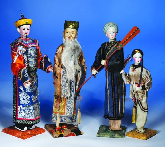 """12A: FOUR  CHINESE  PAPIER MACHE DOLLS.  10"""" to 13"""".  E"""
