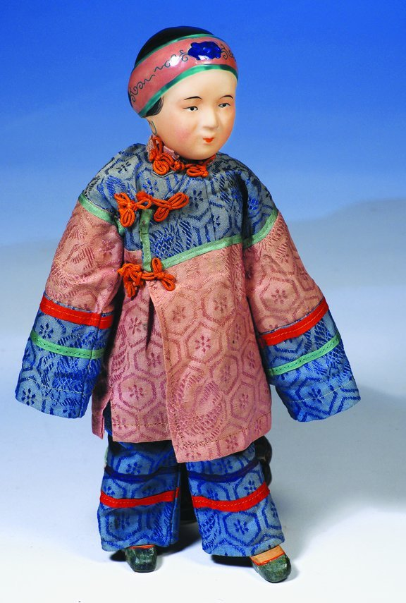 """15: GERMAN BISQUE ASIAN DOLL WITH MOLDED HAT.   11"""".  B"""
