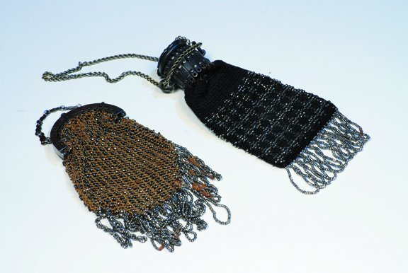 """19: TWO ANTIQUE DOLL PURSES.  5"""" L.  Two beaded bags wi"""