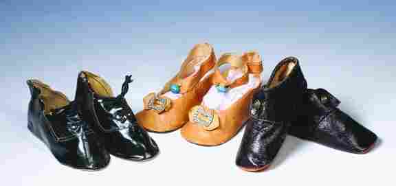 """THREE PAIR OF ANTIQUE DOLL SHOES. Includes: 4 ¼"""""""