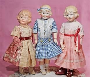 THREE ARTIST GEBRUDER HEUBACH BISQUE CHARACTER GIRLS