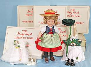 SHIRLEY TEMPLE HEIDI DOLL & NINE OUTFITS BOXES