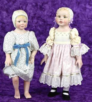 TWO DOLLS WITH SCULPTED BONNET BY ARTISTS