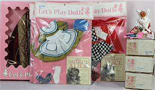 """GROUP OF ALEXANDER """"LET'S PLAY DOLLS"""" CLOTHES & RABBIT."""