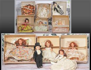 TWO BISQUE AND NINE PLASTIC NANCY ANN STORYBOOK DOLLS