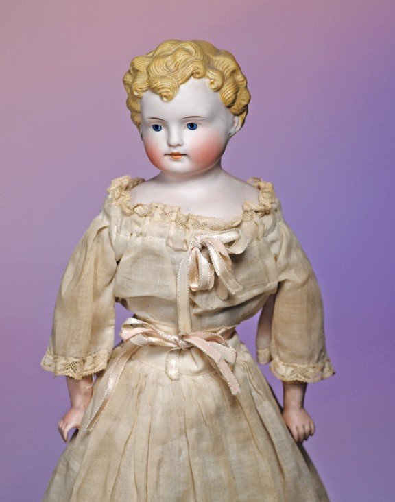 2: PARIAN BISQUE YOUNG LADY WITH BLONDE SCULPTED HAIR.