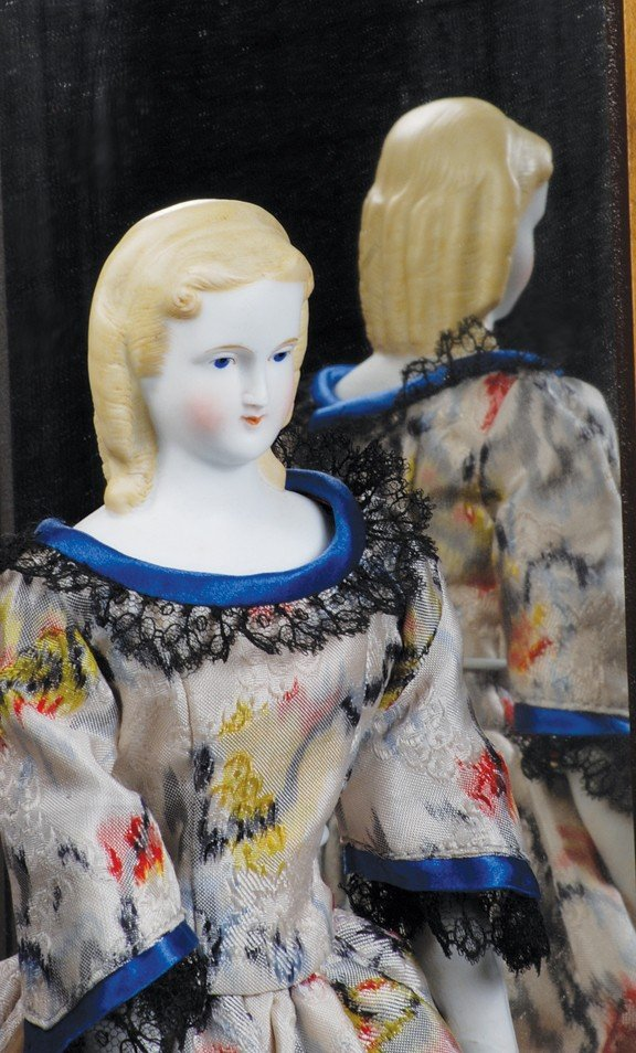 """14: GERMAN BISQUE PARIAN LADY WITH LONG CURLS.  12 ½""""."""