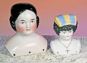 """PARIAN HEAD BONNET DOLL WITH MOLDED BODICE.  4"""" H."""