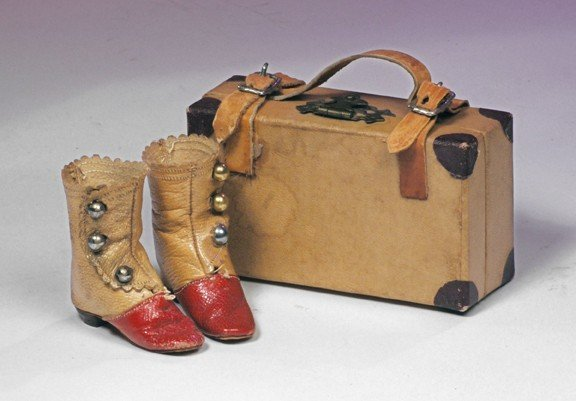 """61: PAIR OF ANTIQUE FRENCH FASHION BOOTS.  2""""L.  Red an"""