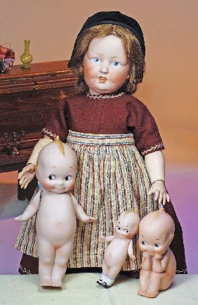 GERMAN BISQUE CHARACTER DOLL ATTRIBUTED TO KESTNER.