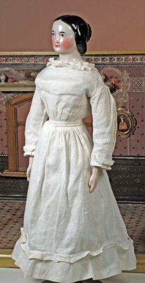 RARE, CIRCA 1840 GERMAN CHINA LADY WITH ELEGANT PR