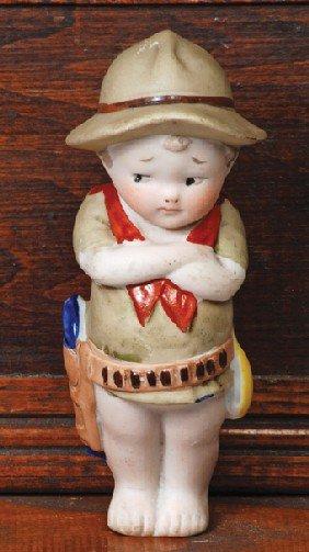 KESTNER ALL-BISQUE BOY IN WESTERN COSTUME - AS SHO