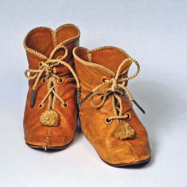 165: PAIR ANTIQUE FRENCH LEATHER DOLL BOOTS.  Marks:  I