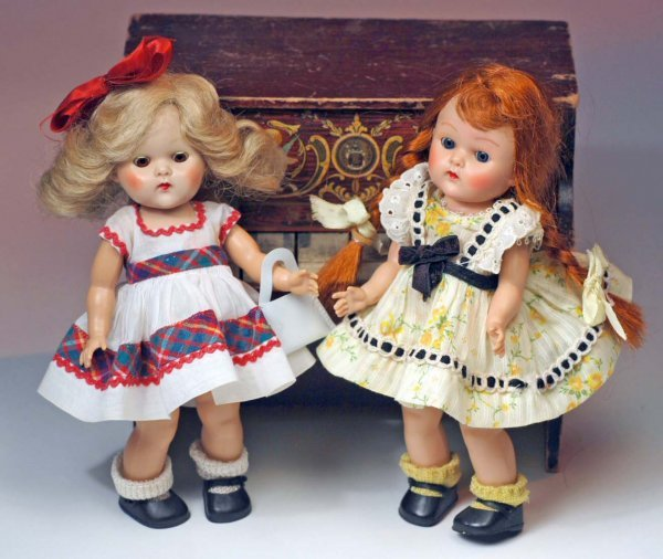 "188: TWO EARLY HARD PLASTIC GINNY DOLLS.  8"".  Each is"