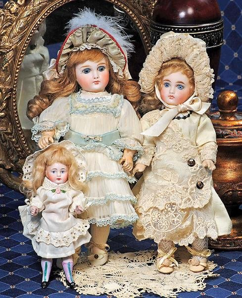 3: GERMAN SLENDER, ALL-BISQUE DOLL WITH FANCY STOCKINGS