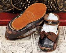 """114: PAIR ANTIQUE """"EDEN BEBE"""" FRENCH LEATHER DOLL SHOE"""