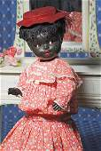 220: FLIRTY-EYED BLACK COMPOSITION CHARACTER DOLL BY K