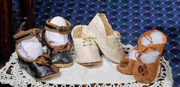 THREE PAIRS OF ANTIQUE DOLL SHOES. Includes: 3
