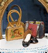 262: TWO ANTIQUE PURSES & PAIR OF DOLL SHOES. Include