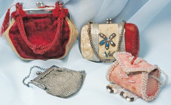 """8: FOUR ANTIQUE DOLL PURSES.  2 ¼"""" to 3"""".  Includes fir"""