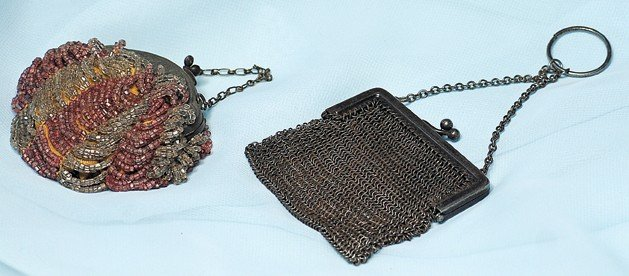 "81A: TWO ANTIQUE DOLL PURSES.  3"" purse covered in alte"