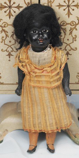 90: TINY BLACK BISQUE DOLL BY GEBRUDER KNOCH.  Marks: c