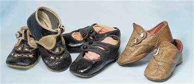 """135: THREE PAIR OF ANTIQUE SHOES. 4 ¼"""" to 4 ¾"""" in leng"""