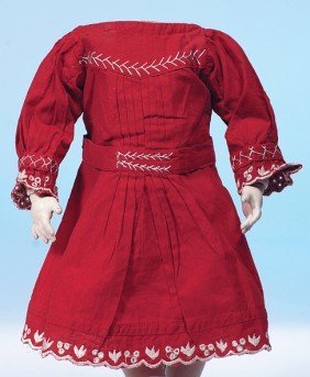 17: ANTIQUE RED COTTON DOLL DRESS