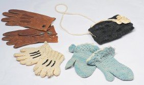 ANTIQUE MITTENS, GLOVES AND FUR MUFF