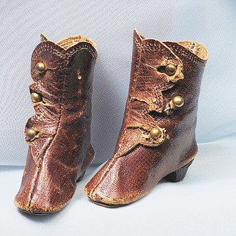 24A: PAIR OF BROWN LEATHER FASHION DOLL BOOTS