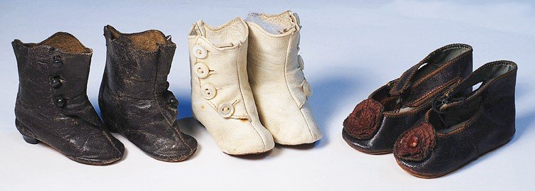 57: TWO PAIR OF ANTIQUE LEATHER DOLL BOOTS