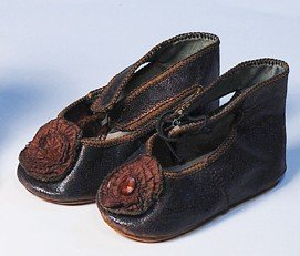 59: PAIR OF ANTIQUE LEATHER DOLL SHOES