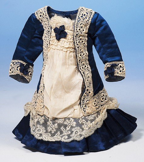 98: BLUE SILK ANTIQUE DOLL DRESS