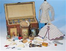 132: ANTIQUE TRUNK AND ACCESSORIES FOR FRENCH FASHION