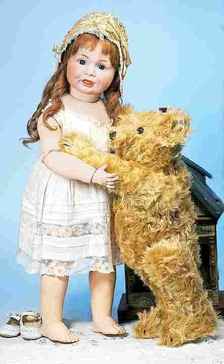 144: LARGE STEIFF CURLY BROWN MOHAIR TEDDY BEAR