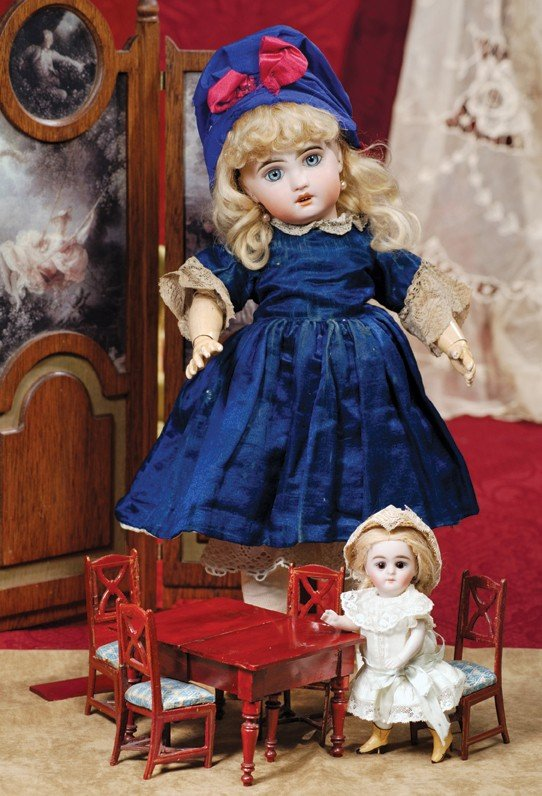 3: KESTNER ALL-BISQUE DOLL WITH SWIVEL NECK & YELLOW BO
